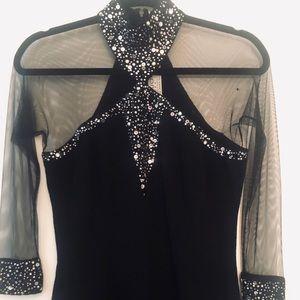 ST. JOHN Embellished Dress w/ Mesh Sleeves, Size 8